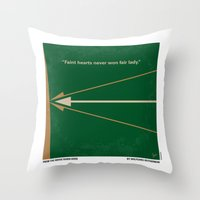 robin hood Throw Pillows featuring No237 My Robin Hood minimal movie poster by Chungkong