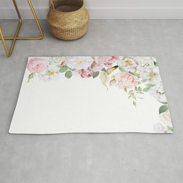 Vintage & Shabby Chic - Blush Antique Roses Frame Rug