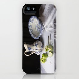 Delft blue and green apples still life iPhone Case