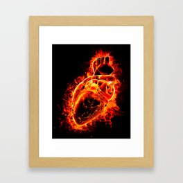 Heart on fire Framed Art Print