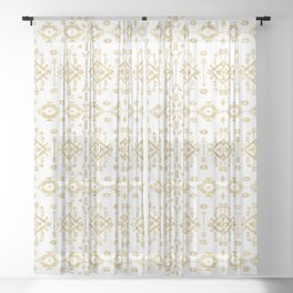 Luxury gold geometric tribal Aztec pattern Sheer Curtain
