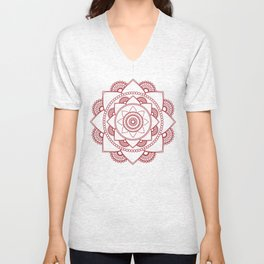 Mandala 01 - Burgundy on White Unisex V-Neck