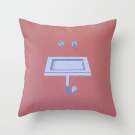 Floating Sink With Coral Background Throw Pillow