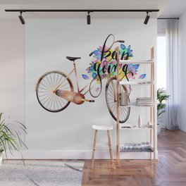 Keep going,motivational calligraphy  bicycle text logo  Wall Mural
