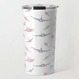 Colorful Plane Sketches Travel Mug