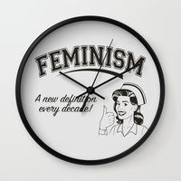 feminism Wall Clocks featuring Feminism - New Definition - White by Anti Liberal Art