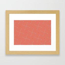 Pantone Living Coral & Storm Gray Circle Swirl Pattern Framed Art Print
