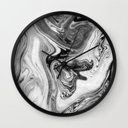 Mizuki - spilled ink marbling paper marble swirl abstract painting original art india ink minimal Wall Clock