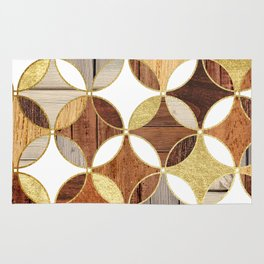 Wood and Gold Geometric Rug