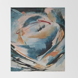 Drift 6: a bold mixed media piece in blues, brown, pink and red Throw Blanket