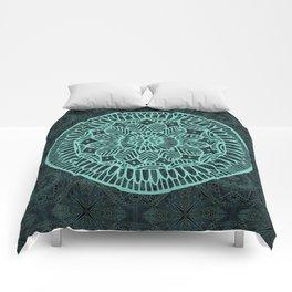 Blue Doodle Mandala Comforters