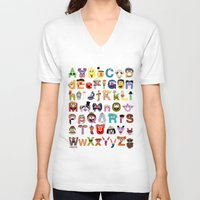 sesame street V-neck T-shirts featuring Sesame Street Alphabet by Mike Boon