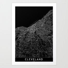 Cleveland Black Map Art Print