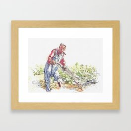 1937 Rural Georgia Sharecropper's 13 year old son, Georgia, 1937.  by Dorothea Lange watercolor by A Framed Art Print