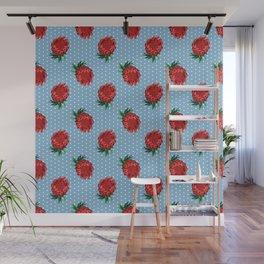 Beautiful Protea Pattern - White Polka Dots on Blue - Australian Native Flowers Wall Mural