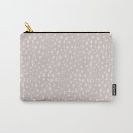 Elegant blush pink watercolor brushstrokes polka dots Carry-All Pouch