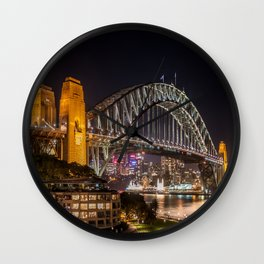 Sydney Harbour Bridge at Night Wall Clock