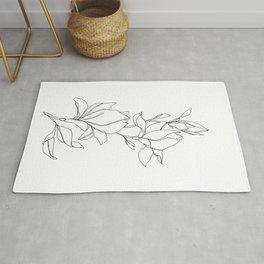 Botanical illustration line drawing - Magnolia Rug