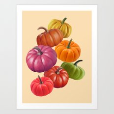 Colourful Pumpkins Art Print