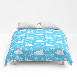 Snowflakes Pattern Cute Bunny Merry Christmas  Comforters