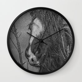 horse in the snowfall Wall Clock