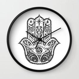 Black and White Mosaic Hamsa Wall Clock