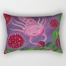 Axolotls Love Strawberries Even During Quarantine Rectangular Pillow
