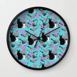 Rex Cats Blue Wall Clock