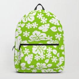 Hawaiian Hibiscus Flower pattern green Backpack