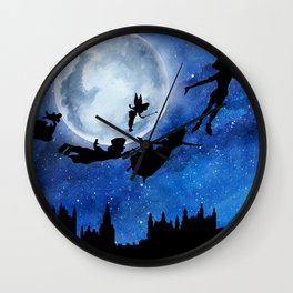 Peter Pan Night Nursery Decor Wall Clock