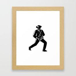 Jazz Musician Playing Sax Woodcut Framed Art Print