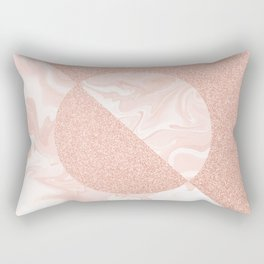Rose Glitter and Blush Marble Rectangular Pillow