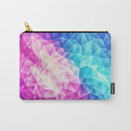 Pink - Ice Blue / Abstract Polygon Crystal Cubism Low Poly Triangle Design Carry-All Pouch