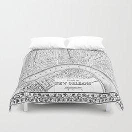 Vintage Map of New Orleans (1880) BW Duvet Cover