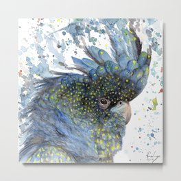 "Watercolor Painting of Picture ""Black Cockatoo"" Metal Print"