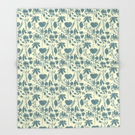 Native Flora On Ecru Pattern Throw Blanket