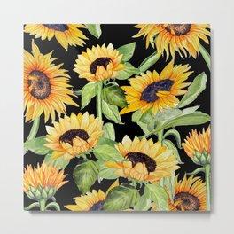 Sunflowers on black Metal Print