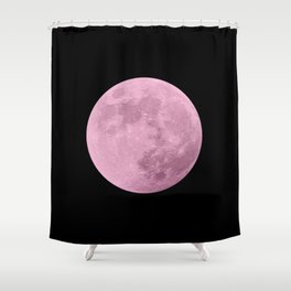 PINK MOON // BLACK SKY Shower Curtain