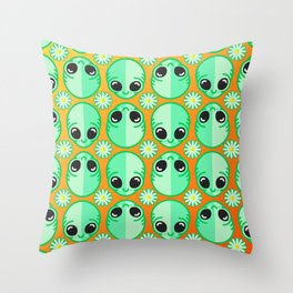 Happy Alien and Daisy Nineties Grunge Pattern Throw Pillow