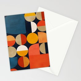 mid century geometric abstract Stationery Cards