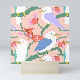 Kookaburra Birds + Little Kurrajong Flowers Mini Art Print