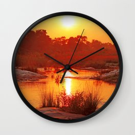 Perfect african morning, wildlife Wall Clock