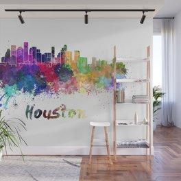 Houston skyline in watercolor Wall Mural