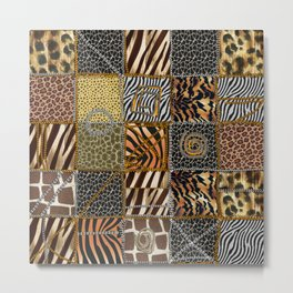 Safari patchwork texture Metal Print