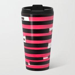 Pink Primitive Stripes Mid Century Modern Minimalist Watercolor Gouache Painting Colorful Stripes Wa Travel Mug