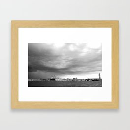 Venice in a storm, black and white Framed Art Print