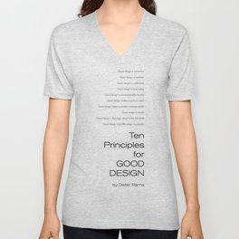 Ten principles for Good Design. By Dieter Rams Unisex V-Neck