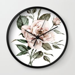 Faded Pink Rose Wall Clock