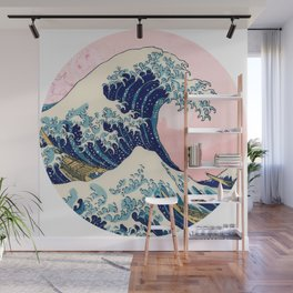 The Great Wave off Kanagawa by Hokusai on a pink landscape Wall Mural