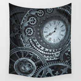 Silver Steampunk Clockwork Wall Tapestry